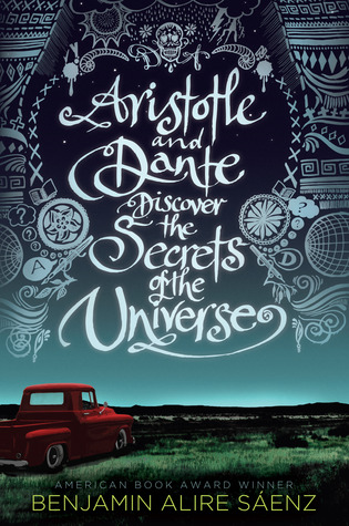 The cover of Aristotle and Dante Discover the Secrets of the Universe by Benjamin Alire Sáenz shows Ari's truck parked in one of his favorite spots to go in the book.