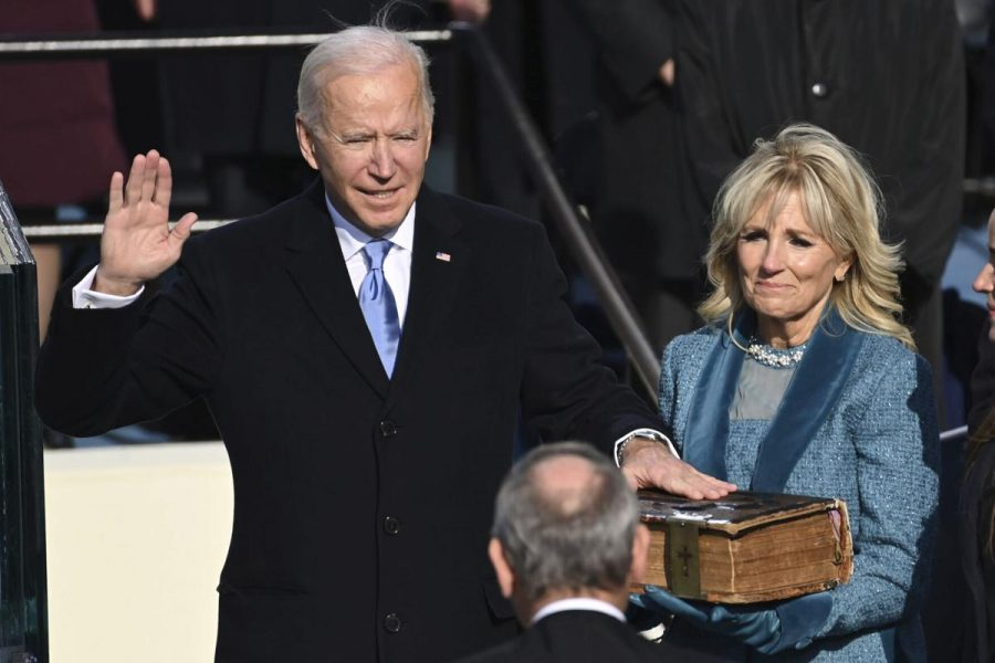 This image shows the swearing in of the 46th President of the United States